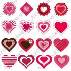 Clip art Hearts Digital hearts Pnj Digital Scrapbooking