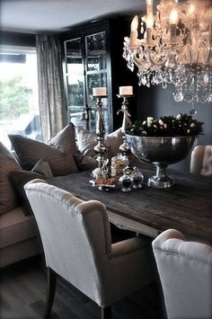 I love the colors in this living room/dining room! The sofa is a nice touch and the chairs looks super comfy - Decor It Darling Esstisch Design, Sweet Home, Shabby Chic, Interior Decorating, Interior Design, Dining Room Inspiration, Dining Room Design, Cozy House, Home And Living
