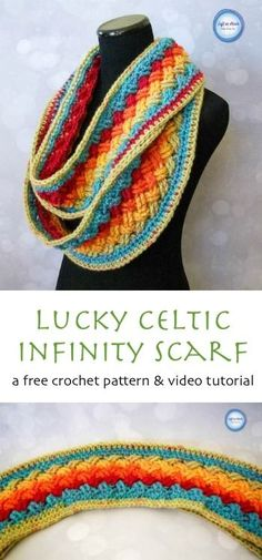 A free infinity scarf crochet pattern perfect for celebrating St. Patrick's Day but spectacular enough to wear for any occasion!  Use on skein of Caron Cakes yarn to make this vivid accessory.  Lucky Celtic Infinity Scarf � Left in Knots