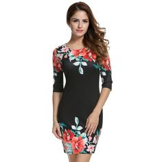 Women 3/4 Sleeve Floral Pencil Dress Stretch Bodycon Package Hip Party Dress