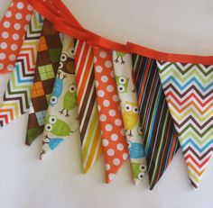 Urban Owls Fabric Bunting Banner  Party Flags by IcingOnTheCupcake, $34.00