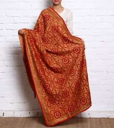 Beige Hand Embroidered Phulkari Chanderi Dupatta