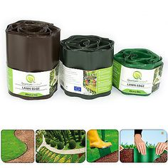 Plastic garden grass lawn edge edging border fence wall driveway roll path Use: prevents grass from Fence Landscaping, Backyard Fences, Landscaping With Rocks, Yard Fencing, Gabion Fence, Concrete Fence, Garden Edging, Garden Borders, Garden Grass