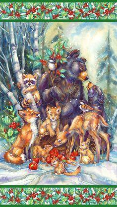 Jody Bergsma - Gallery Press :: Paintings :: Natural Elements :: Wild Land Animals :: Small Mammals :: Celebrate The Season Of Peace - Prints Christmas 24, Christmas Animals, Vintage Christmas Cards, Christmas Pictures, Art And Illustration, Christmas Illustration, Illustrations, Image Deco, Jolie Photo