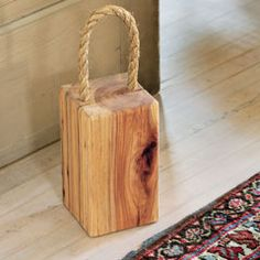 Recycled Wood Doorstop Awesome idea w/the handle, but $60??!! I'm making it. Will be about $3