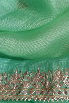 Sea Green Kota Silk Saree With Silver Gota Patti Work Pakistani Dresses, Indian Sarees, Indian Dresses, Indian Outfits, Embroidery Suits, Gold Embroidery, Embroidery Designs, Embroidery Stitches, Kota Silk Saree