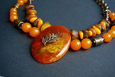 Necklace vintage amber simbircite large necklace Vintage round amber barrel beads Ladies Amber Russian minerals necklace from Russian stones by tashabiju on Etsy