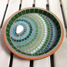 Verdant Ripple Mosaic Garden Yard Bird Bath Decoration by JoSaraUK
