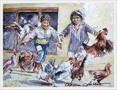 ORHAN GÜLER - Türkish Watercolor Artist Painter - Denizli Sarayköy Art Work Watercolor Artist, Art Work, People, Scenery, Children, Painting, Sombreros, Kid, Paint