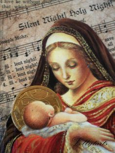 Collaged wooden plaque/art featuring the Holy Mother and Silent Night