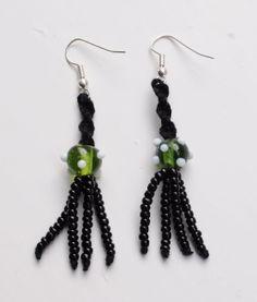 Glass beads, seed beads and macrame earrings