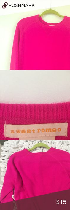 Sweet Romeo hot pink cropped sweater Super cute sweater, shirt with 3/4 sleeves Sweet Romeo Sweaters Crew & Scoop Necks