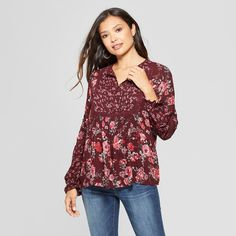 62f7188007ef3d Women's Floral Print Long Sleeve Lace Trim Pintuck Top - Knox Rose Burgundy  Xxl, Red