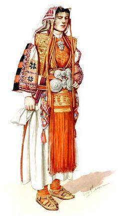 Bridal Mountain Costume, village of Drenok, Golo Brdo {{3 pages}} © Macedonian National Costumes Museum of Ethnology - Skopje 1963 [http://www.soros.org.mk/Konkurs/009/English/mak%20nosija.htm]: