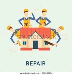Home repairs. Home improvement painting brush, measuring, laying masonry, cut. Vector illustration and flat design.