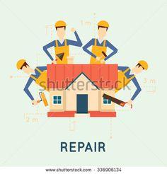 Home repairs. Home improvement painting brush, measuring, laying masonry, cut. Vector illustration and flat design.