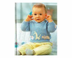 Genuine Vintage Baby Gorgeous 'Hippo Giraffe and Elephant' Motif Jumper Knitting Pattern PDF