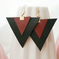 "Items similar to Earrings ""Kolmia"" on Etsy Diy Leather Earrings, Diy Earrings, Leather Jewelry, Fashion Earrings, Earrings Handmade, Handmade Jewelry, Fabric Jewelry, Beaded Jewelry, Diy Jewelry Inspiration"