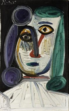 Tête de femme (Head of a Woman) Pablo Picasso Spanish, Oil on… Art Picasso, Picasso Portraits, Picasso Paintings, Abstract Paintings, Oil Paintings, Landscape Paintings, Picasso Blue Period, Cubist Movement, Georges Braque
