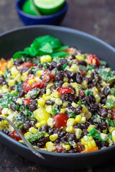 This easy black bean and corn salad is so not your average! Satisfying and super bright, thanks to lime juice and fresh herbs! Grab the full recipe. Blue Zones Recipes, Zone Recipes, Food Network Recipes, Black Bean Corn Salad, Black Bean Salad Recipe, Corn Salad Recipes, Corn Salads, Slaw Recipes, Mediterranean Diet Recipes