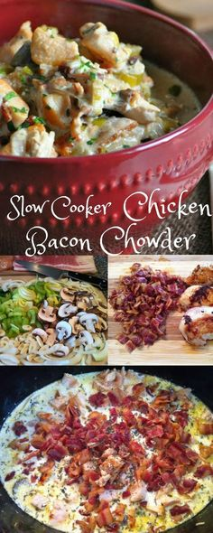 Slow Cooker Chicken Bacon Chowder - Low Carb, Gluten Free | Peace Love and Low Carb via @PeaceLoveLoCarb Healthy Carbs, Chicken Bacon, Slow Cooker Chicken, Chowder, Gluten Free, Low Carb, Herbs, Meat, Food