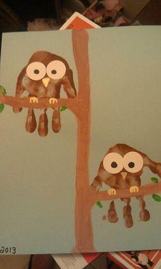 Forest Theme - Owl handprint animal art                                                                                                                                                     More