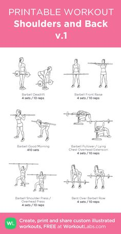 Shoulders and Back v.1:my visual workout created at WorkoutLabs.com • Click through to customize and download as a FREE PDF! #customworkout
