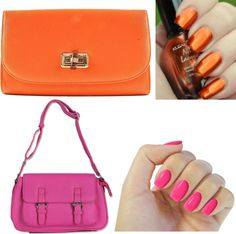 """Nails & Bags: Orange & Pink"" by ladiesfashionsense on Polyvore"