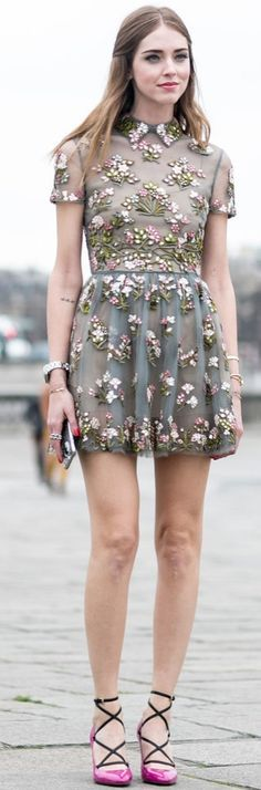 Paris Fashion Week street style: Chiara Ferragni wearing an embroidred floral minidress with lace up pink pumps