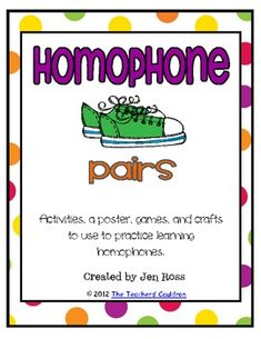 Use these sneakers to help students learn homophone pairs!Included is:a homophone posterRead the RoomConcentration gameFoldable activity ...