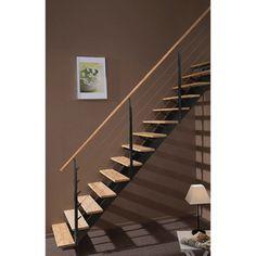 Escalier escatwin escapi quart tournant en bois et aluminium 16 marches ler - Escalier escamotable de grenier leroy merlin ...