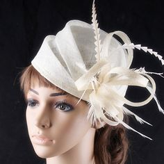 3 color available elegant sinamay headwear with rooster feather adorned fashion wedding fascinator cocktail hats race hairstyle #WeddingHairstyles