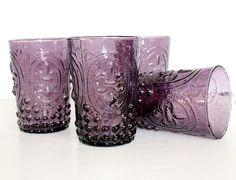 Lavender Fleur de Lis Embossed Glasses