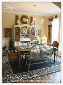 BEFORE: (1) settee = stiff, limited seating (2) end chairs too 'stark' AFTER: (1) bench = flexibility (2) end chairs = cozy French Farmhouse Dining Room