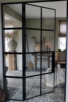 A look inside Geeske - De Wemelaer - Black steel doors in a rural interior - Hotel Interiors, Rustic Interiors, Style At Home, Home Living Room, Interior Design Living Room, Rustic Home Design, Home Fashion, New Homes, House Design