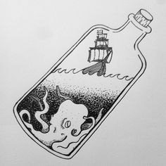 ship in a bottle drawing Dotted Drawings, Sharpie Drawings, Sharpie Art, Easy Drawings, Sharpie Doodles, Easy Doodles, Sharpies, Design Poster, Art Design