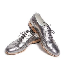 silver oxford brogue shoes  FREE WORLDWIDE SHIPPING by goodbyefolk, $225.00