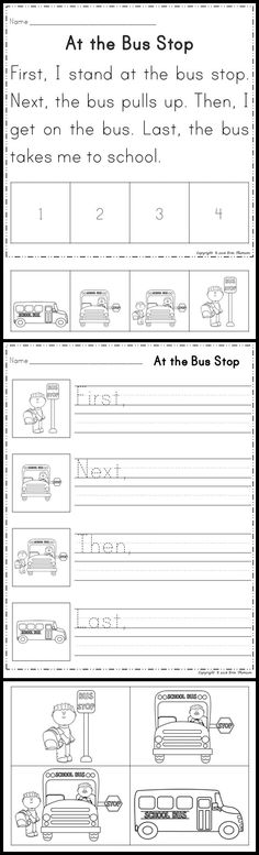 Art therapy activities grades Sequencing Stories ~ First, Next, Then, Last. Read and sequence the Bus Stop story. 1st Grade Writing, First Grade Reading, Kindergarten Writing, Student Reading, Teaching Writing, Literacy, Guided Reading, Reading Activities, Reading Skills