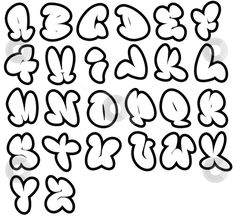 26 graffiti fonts, Funny bubble alphabet,can be used in a variety of ways. Letters and Numbers illustration by Johnjohnson. You may easily purchase this image as Guest without opening an account. Alphabet A, Graffiti Alphabet, Bubble Letters Alphabet, Bubble Letter Fonts, Graffiti Lettering Fonts, Hand Lettering Fonts, Creative Lettering, Lettering Styles, Lettering Design