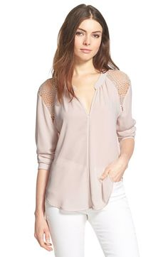 ASTR Lace Shoulder Long Sleeve Blouse available at #Nordstrom