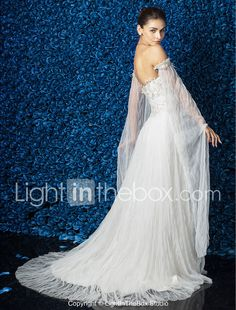 Sheath / Column Strapless Court Train Tulle Wedding Dress with Beading Appliques by LAN TING BRIDE® 699581 2017 – $179.99