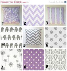 Pillow, Throw Pillow, Cushion - Lavender pillow - Purple Pillow - Grey Pillow - Nursery Pillows on Etsy, $17.96