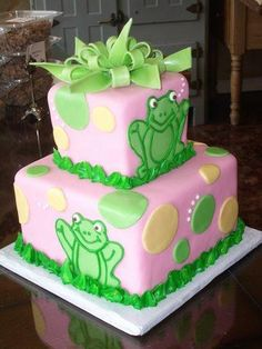 girl frog cake..love the frogs:)