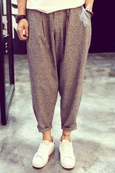 Vintage Loose Fit Narrow Feet Crimping Zipper Fly Cotton+Linen Harem Nine Minutes of Pants… -