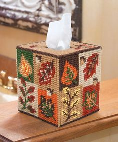 "Add some fall colors to any room with this tissue box cover. Great to give as a gift or keep for yourself./ 5""l X 5""w X 5.5""h/ 7 mesh/ PLASTIC CANVAS"