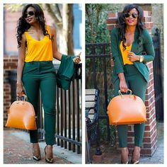 Mustard/Yellow and emerald green / dark green suit Green Suit Women, Green Outfits For Women, Office Outfits Women, Classy Work Outfits, Chic Outfits, Fashion Outfits, Business Casual Attire, Professional Outfits, Look Kim Kardashian