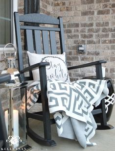 Front or back porch?Black Rocking Chair on Front Porch with Lantern Rustic Rocking Chairs, Rocking Chair Front Porch, Front Porch Chairs, Home Porch, Porch Decorating, Home Furniture, Front Porch Furniture, Sweet Home, New Homes