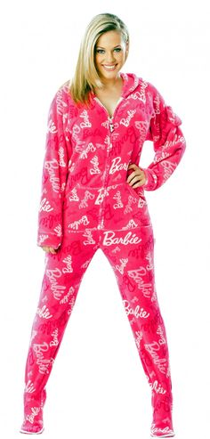 Barbie - Fab Pink - Barbie Footed Pajamas - Pajamas Footie PJs Onesies One Piece Adult Pajamas - JumpinJammerz.com
