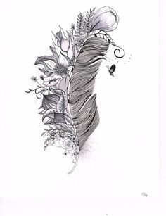 Feather Drawing, Original India Ink drawing or tattoo design by SlowDesigns on Etsy, #tattoo design #tattoo patterns  http://tattoo-design.kira.lemoncoin.org