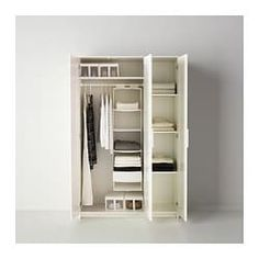Armoire for the apartment - has adequate hanging, folded and room for a ironing board etc. BRIMNES Wardrobe with 3 doors - IKEA Ikea Brimnes Wardrobe, Diy Wardrobe, Bedroom Wardrobe, White Wardrobe Closet, Armoire Wardrobe Closet, Wardrobe Shelving, Wardrobe Wall, Wardrobe Door Designs, Free Standing Wardrobe